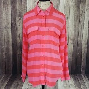 Equipment silk long sleeve button down blouse
